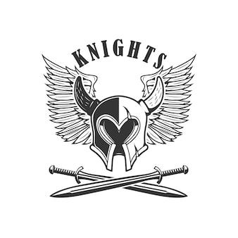 中世の騎士のヘルメットと交差した剣のエンブレムテンプレート。ロゴ、ラベル、記号の要素。図