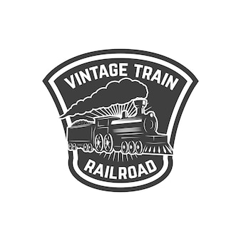 복고풍 기차와 엠 블 럼 템플릿입니다. 철도. 기관차. 로고, 라벨, 엠 블 럼, 기호에 대 한 요소입니다. 삽화