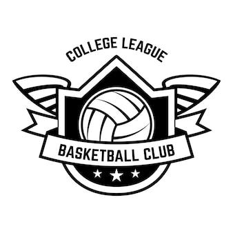Шаблон эмблемы с волейбольным мячом на белом
