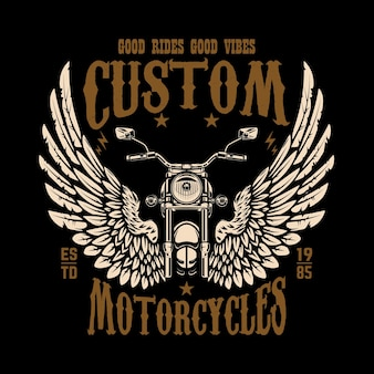 Шаблон эмблемы с крылатым мотоциклом. элемент дизайна для плаката, футболки, знака, значка.