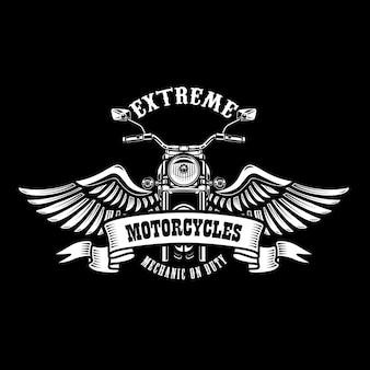 날개 달린 오토바이와 엠블럼 템플릿입니다. 포스터, 티셔츠, 사인, 배지 디자인 요소입니다.