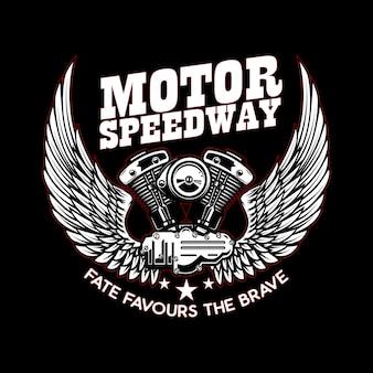 Шаблон эмблемы с крылатым мотором мотоцикла