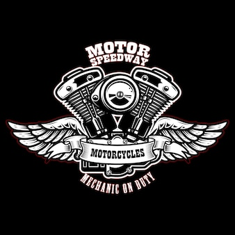 Emblem template with winged motorcycle motor.