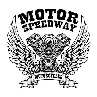 Шаблон эмблемы с крылатым мотором мотоцикла.