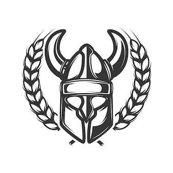Emblem template with wreath and viking helmet illustration
