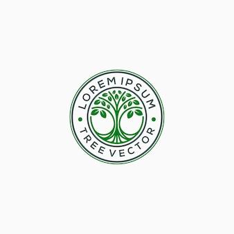 Emblem tree logo template vector illustration