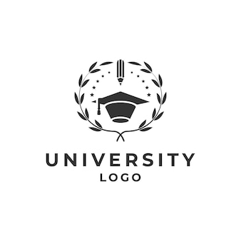 Emblem university, academy, school and course logo design template