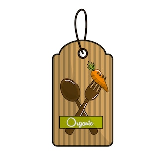 Emblem vegetarian food icon stock