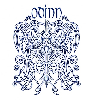 Emblem viking god scary odin