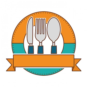 Emblem with cutlery