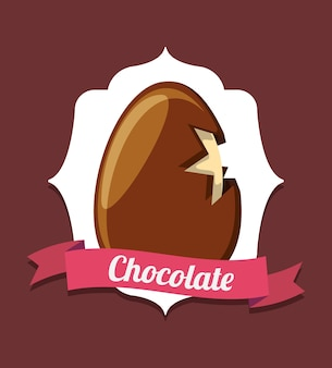 Emblem with decorative frame and ribbon with chocolate egg icon over brown background