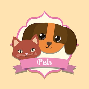Emblem with decorative ribbon and cute dog and kitty icon over orange background