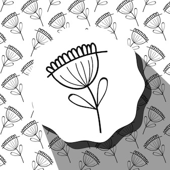 Emblem with flower with leaves and rustic background design