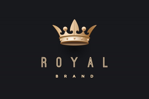 Emblem with gold king crown and inscription royal brand