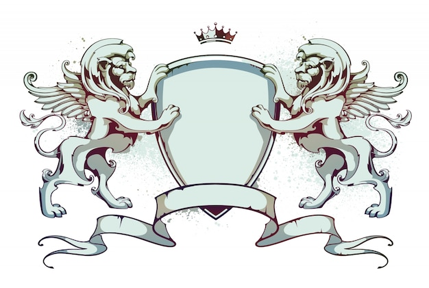 Emblem with ribbons and lions
