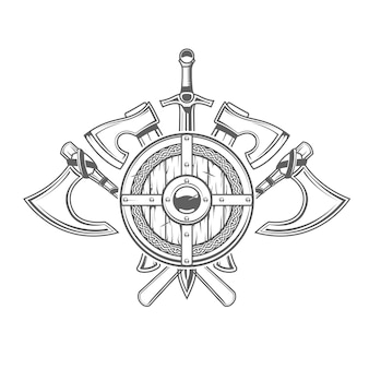 Emblem with round viking shield and crossed cold arms