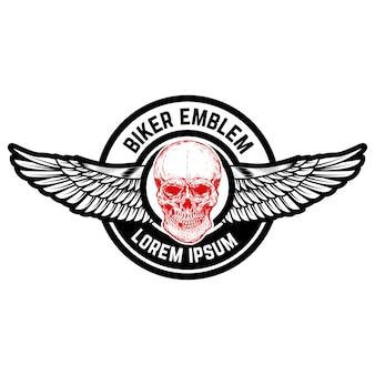 Эмблема с крылатым черепом. элемент для эмблемы, знака, этикетки. образ