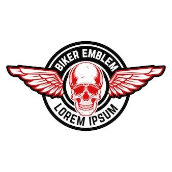 翼のある頭蓋骨のエンブレム。エンブレム、記号、ラベルの要素。画像