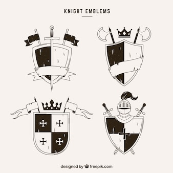 Emblems of knights with ribbons