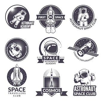 Emblems, labels or logos of space theme