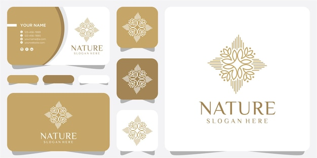 Emblems in trendy linear style in golden colors on white background - floral and natural cosmetics concepts and alternative medicine symbols