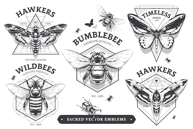 Emblems with bugs Premium Vector