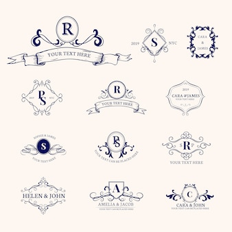 Emblems with initials set