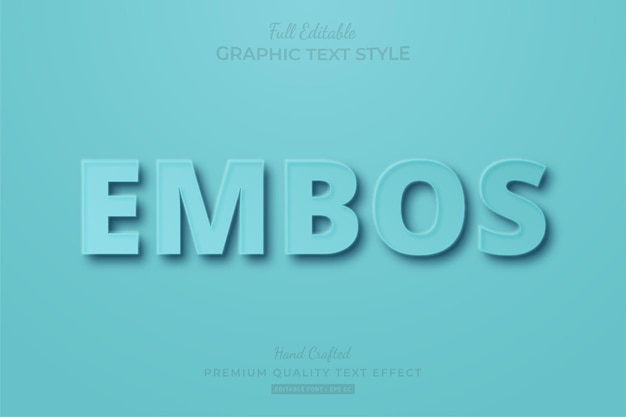 Emboss blue pastel editable text effect