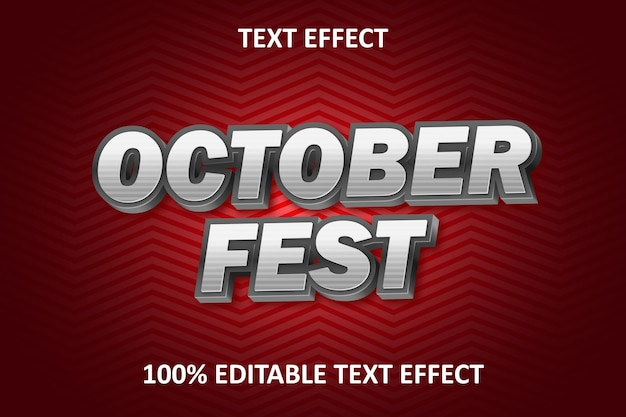 Emboss editable text effect red back silver