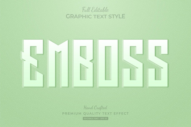 Embossed green editable text effect font style