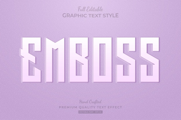 Embossed purple editable text effect font style