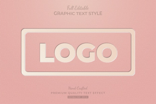 Embossed vintage logo editable custom text style effect premium