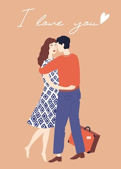 Embracing couple valentines day card couple in love lovely girl and boy embrace