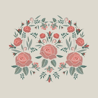 Embroidered composition with roses flowers, buds and leaves. satin stitch embroidery floral design on beige background. folk line trendy pattern for clothes, dress, decor.