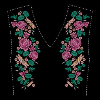 Embroidered composition with roses, wildflowers, leaves and dragonfly. satin stitch embroidery floral design. folk line trendy pattern for clothes with neckline, dress decor.