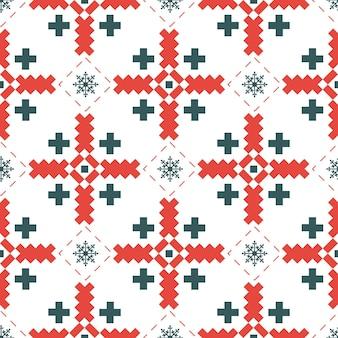 수 놓은 크로스 스티치 민족 우크라이나 패턴.