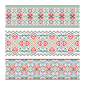 Embroidered handmade stitch ukraine ethnic pattern.