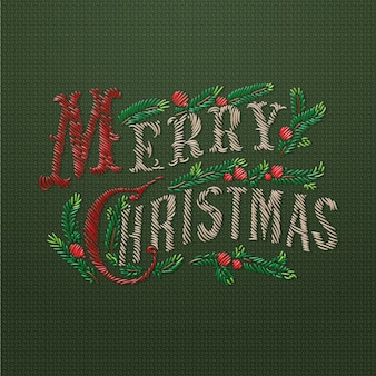 Embroidered merry christmas card