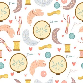 刺繍と羽のパターン
