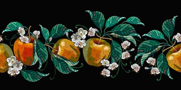 刺繍、リンゴ、白い花