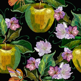 Embroidery apples and butterfly seamless pattern