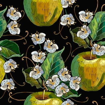 Embroidery apples seamless pattern