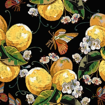 Embroidery blossoming lemons and butterfly seamless pattern