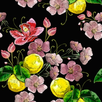 Embroidery blossoming lemons seamless pattern