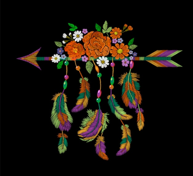 Embroidery boho native american indian arrow feathers flowers