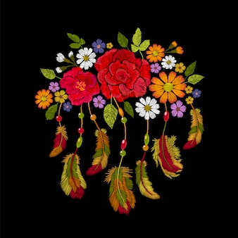 Embroidery boho native american indian feathers flowers