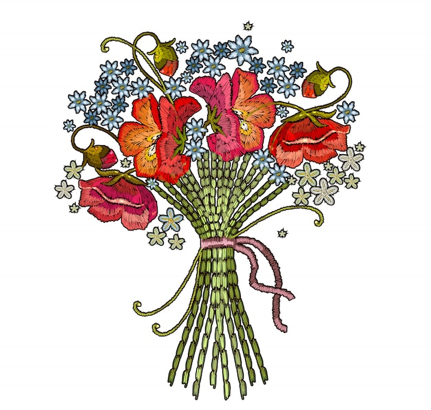 Embroidery bouquet of flowers