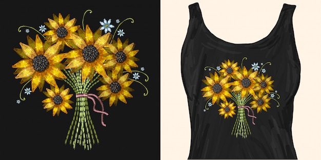 Embroidery bouquet of sunflowers