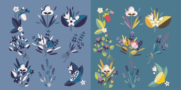 Коллекция вышивок с цветочным букетом