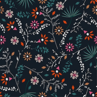 Embroidery colorful floral seamless pattern vector
